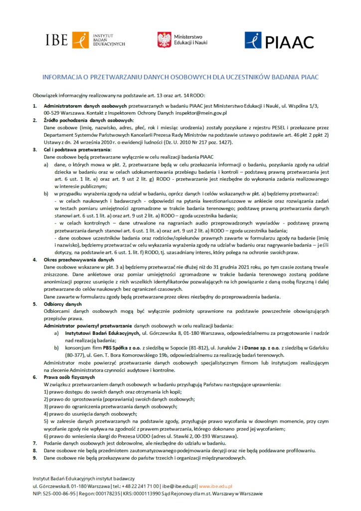 PIAAC - Klauzula informacyjna